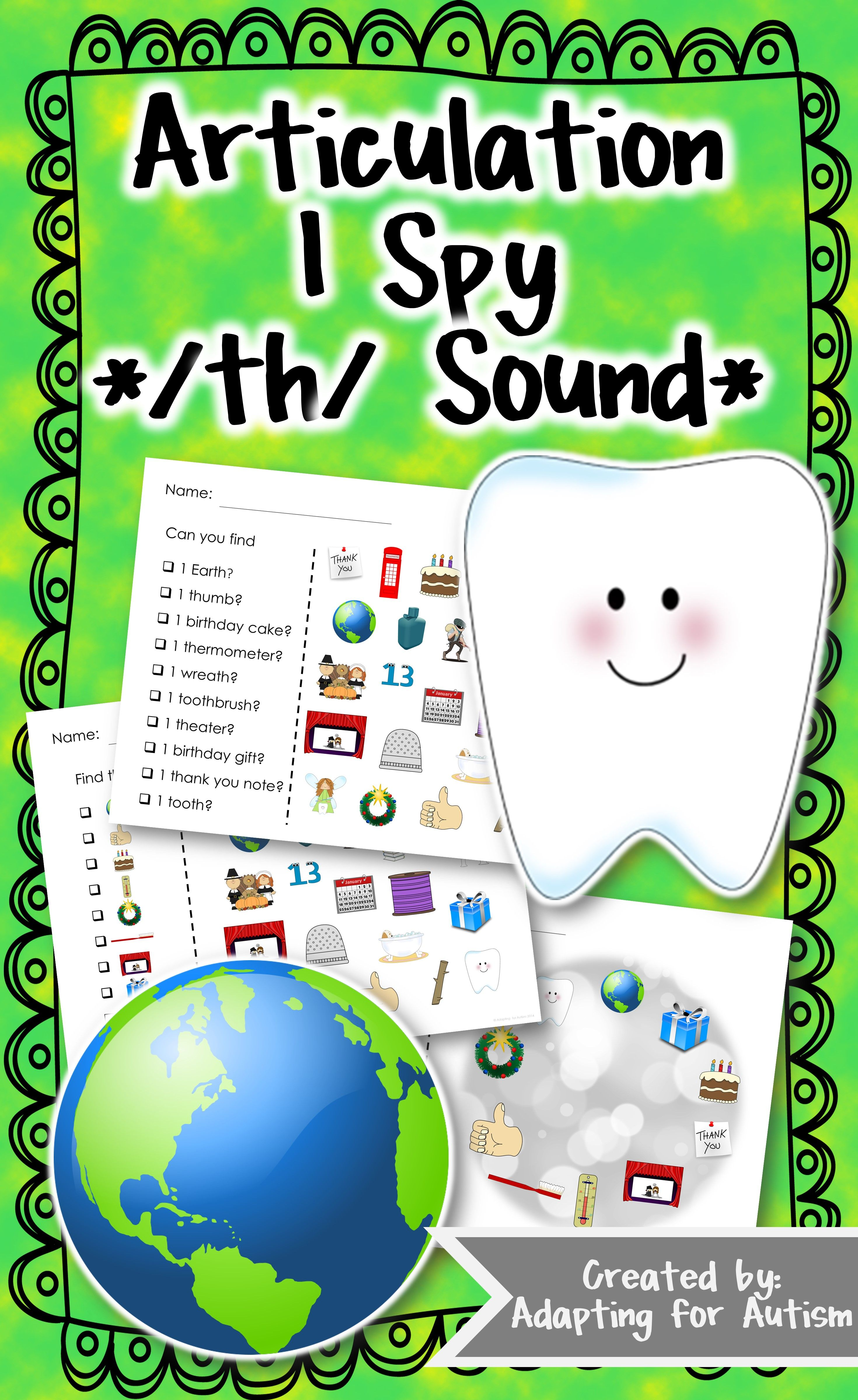 Articulation Activity Th Find It Speech Therapy Game