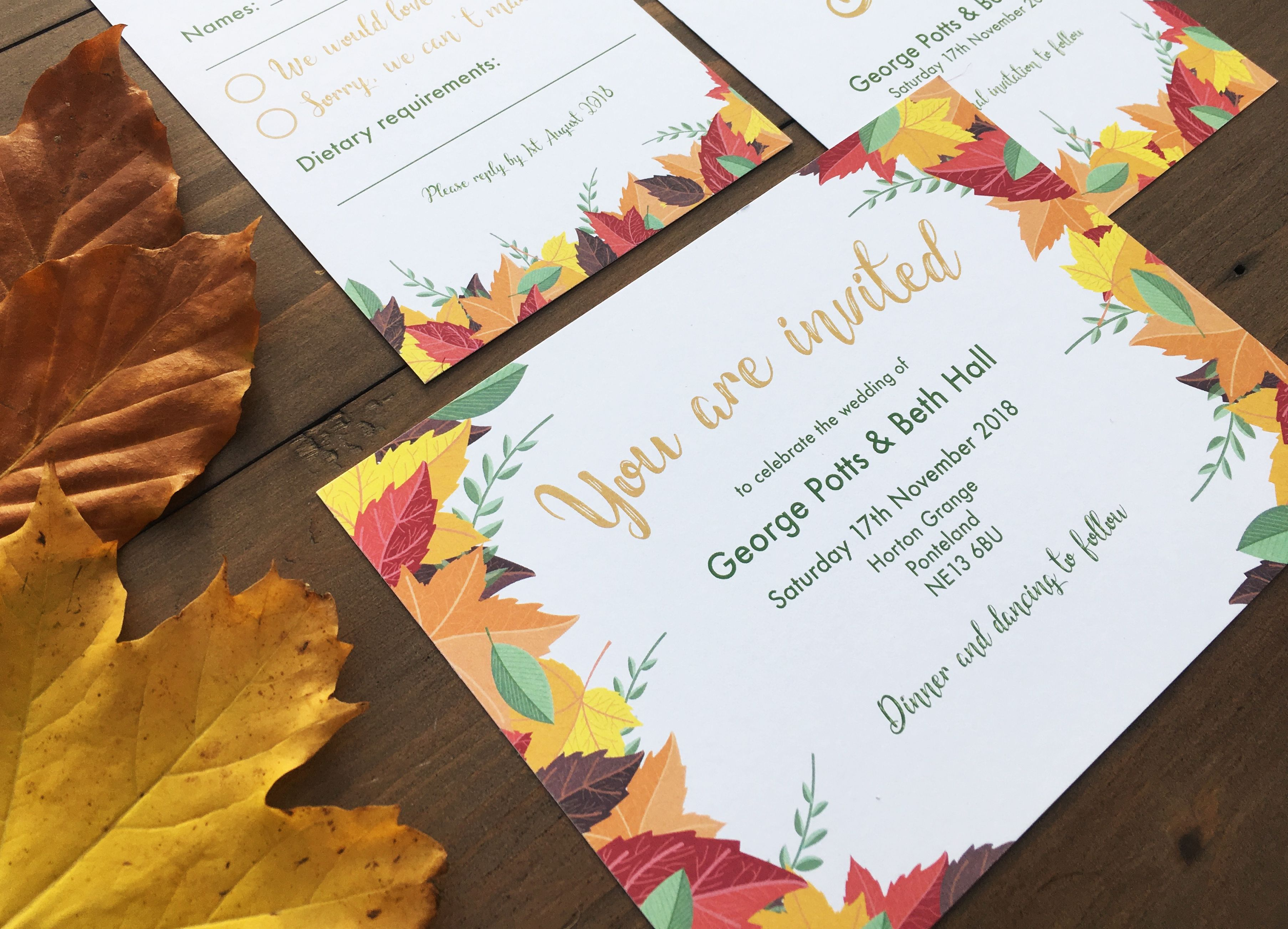Autumn Wedding Invitation, RSVP and info card - These are part of a ...
