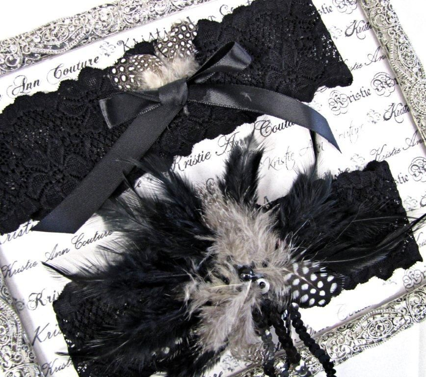 Black Lace and Feather Garter Set $88.19; couture handmade garter; lace wedding garter; b wedding; #vintage #lace #bride #garters