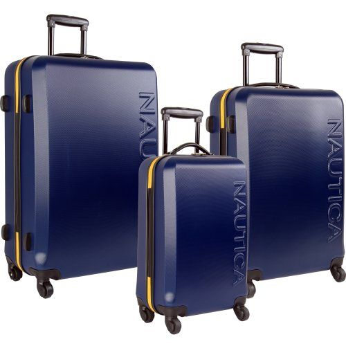 Definitely Need This Nautica Luggage Ahoy 3 Piece Hard Side Spinner Trolley Handles Set Navy Yellow One Spinner Luggage Sets 3 Piece Luggage Set Luggage