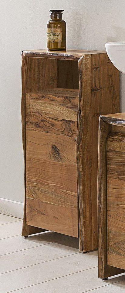 Kasper Wohndesign Badezimmer Schrank Klein Akazie Massiv Holz Loft Edge Online Kaufen Mit Bildern Kleiner Schrank Badezimmer Schrank Badschrank Holz