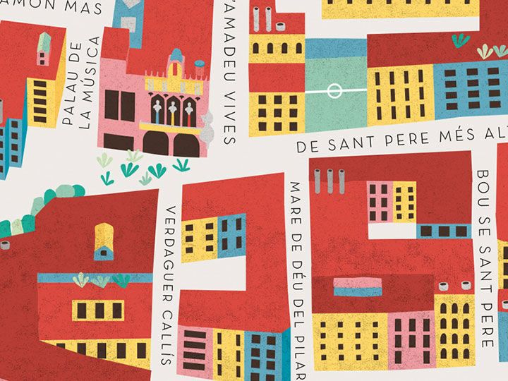 El Born Barcelona Mapa.Mapa Barri El Born Maria Diamantes Detalle Illustrated Map