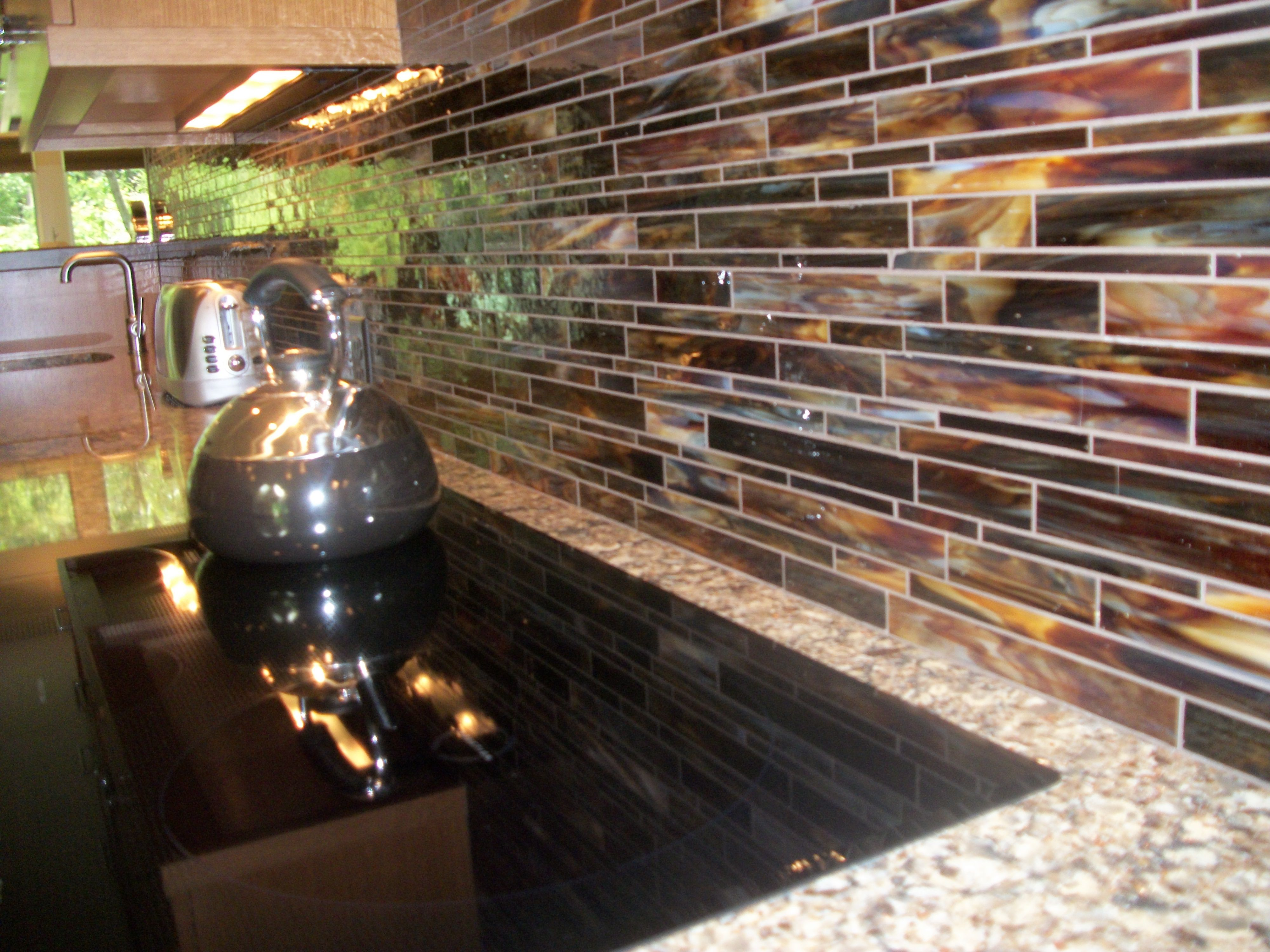 Beautiful Glass Tile Backsplash with Cambria Countertops ...
