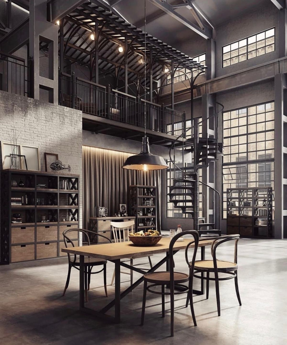 I Choose This Pin For Actual Lighting Because Of The Edison Bulbs Used To Give Light To This Most Industrial Loft Design Industrial Interior Design Loft Design