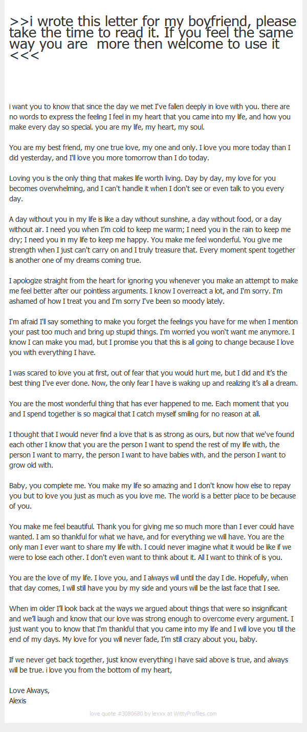 I Wrote This Letter For My Boyfriend Please Take The