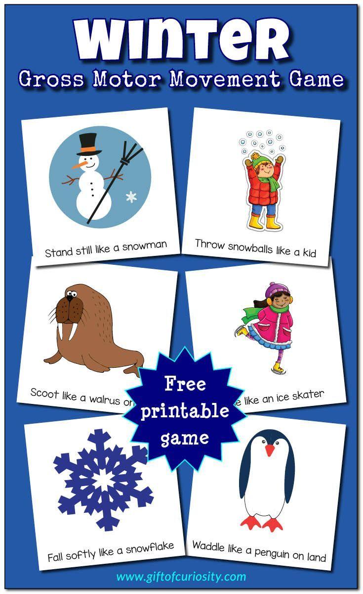 Winter Gross Motor Movement Game Free Printable Winter Activities Preschool Winter Theme Preschool Winter Preschool [ 1200 x 735 Pixel ]