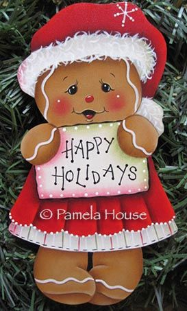 Happy Holidays Ginger Girl Ornament Blank