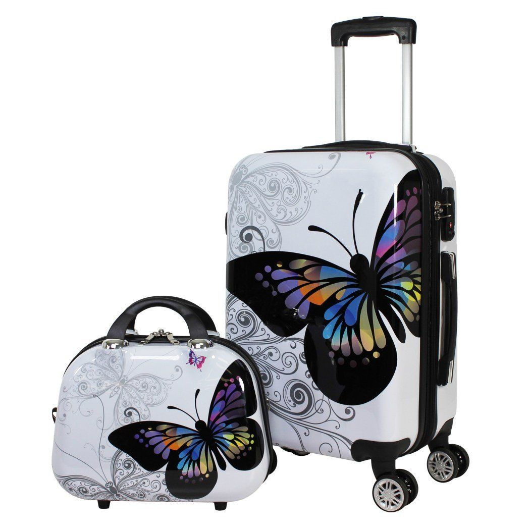 Color Girls Butterfly Theme Hardtop Luggage Butterflies