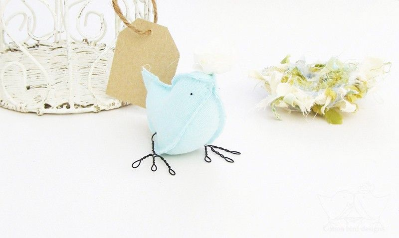 Fabric Bird Blue Bird Soft Sculpture Baby Boy Nursery Decor. via Etsy.