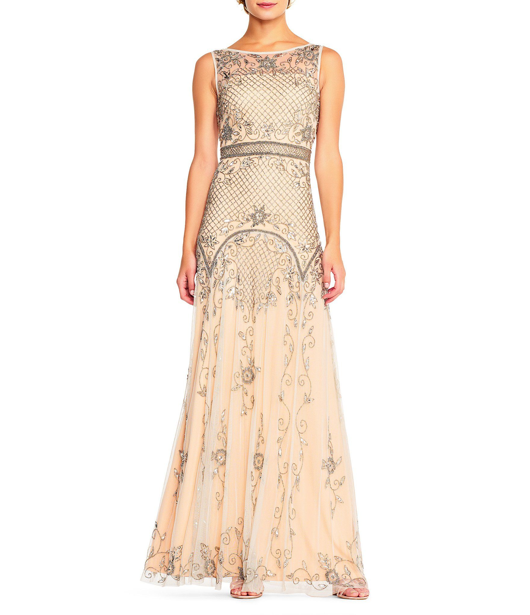 Shop for adrianna papell beaded illusion mesh gown at dillards