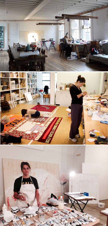 Tracy Emin in her studio in East London Painting studio