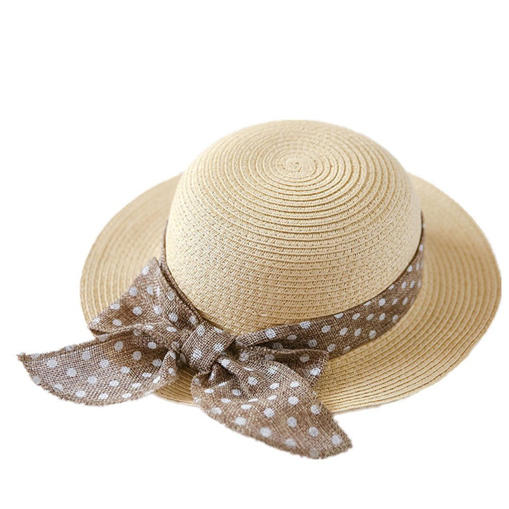 b4c0fc005e3e5 Connectyle Kids Classic Lovely Summer Straw Hat Cap Bowknot Beach Sun  Protection Hats for Girls.