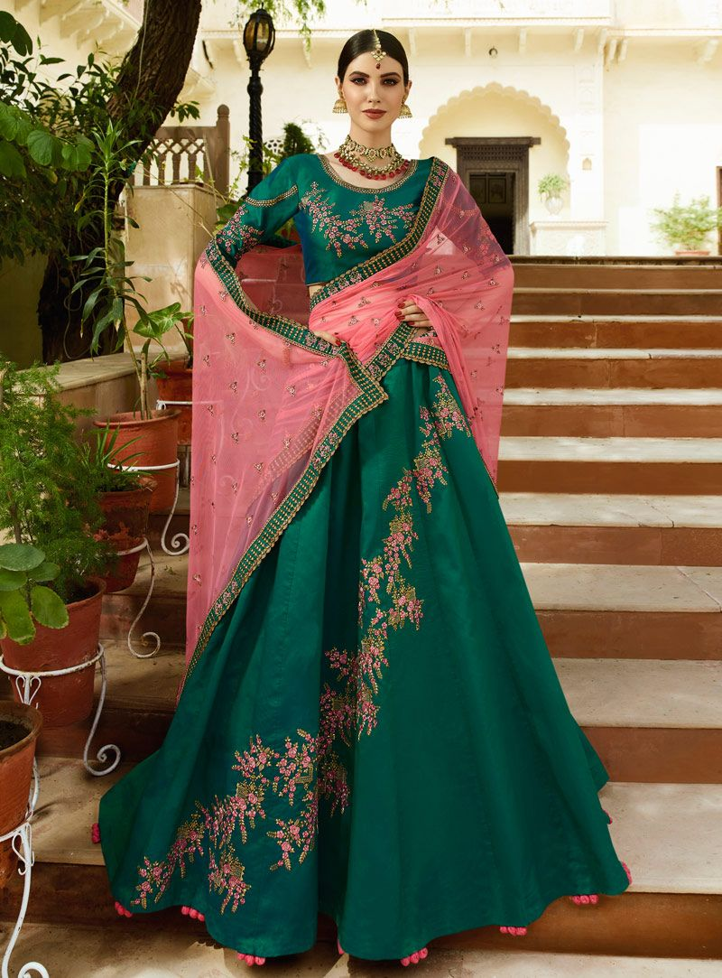 67ca120ea57 Buy Green Velvet Circular Lehenga Choli 143425 online at best price from  vast collection of Lehenga