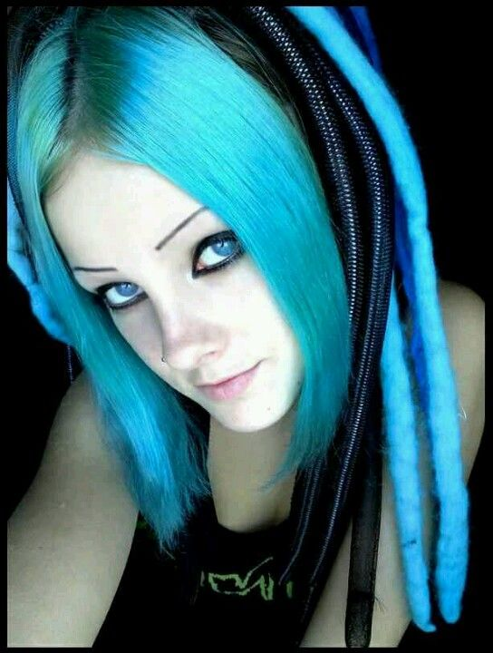 Blue hair girls with emo