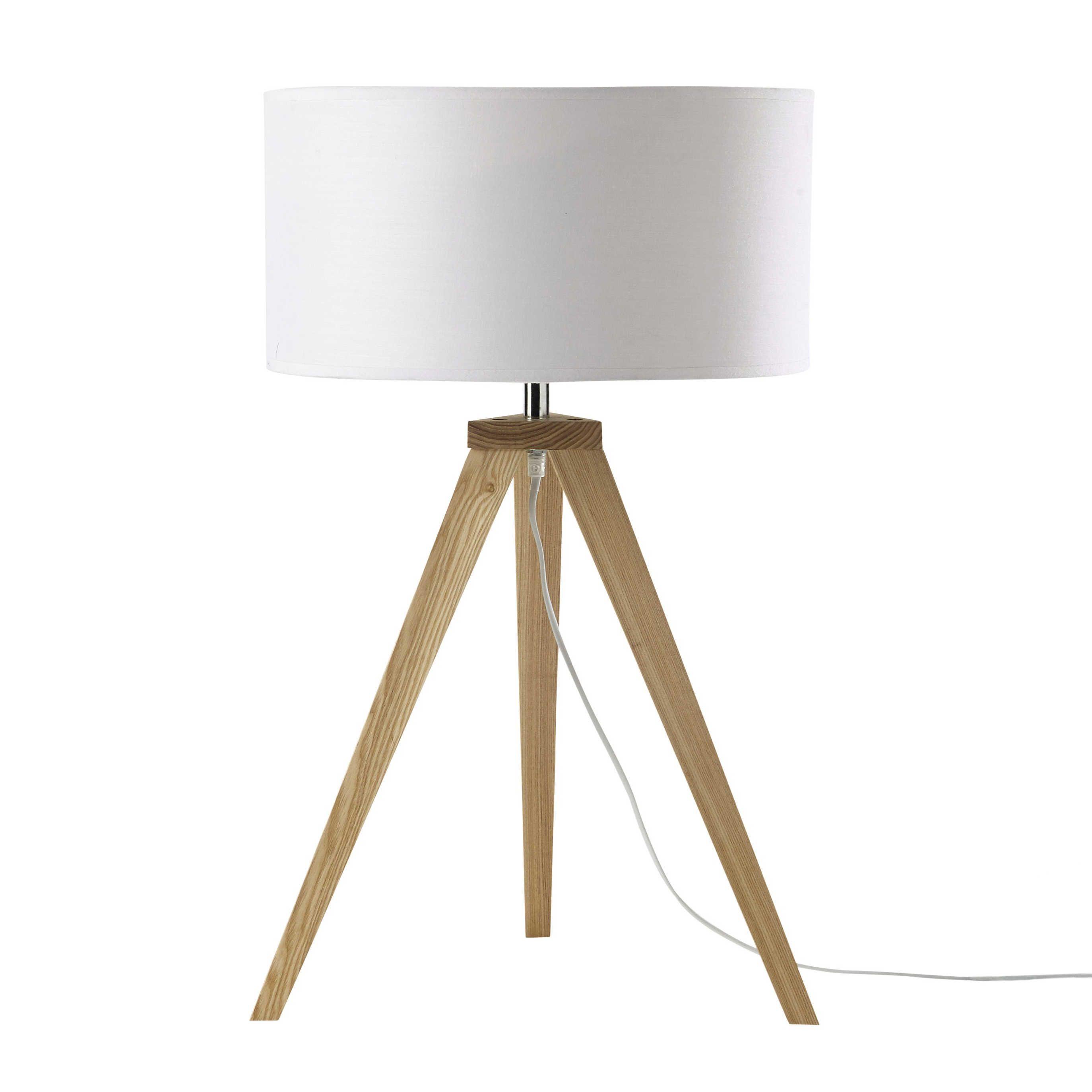 Dreibeinige Lampe KARLSEN aus Holz mit Lampenschirm aus