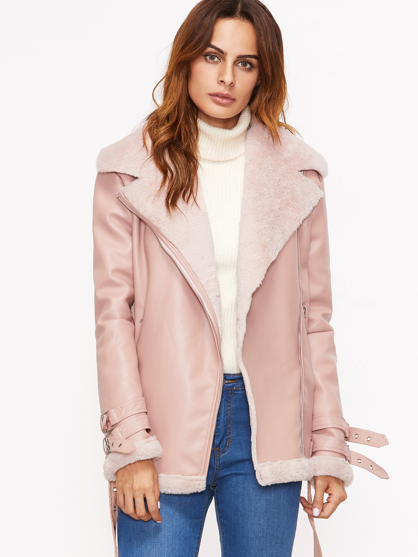 57.99$  Watch here - http://diivc.justgood.pw/go.php?t=12429 - Pink Faux Shearling Belted Cuff And Hem Moto Jacket