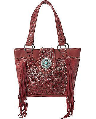 Trinity Ranch® Concealed Carry, Tooled Leather Tote w/ Fringe- Red