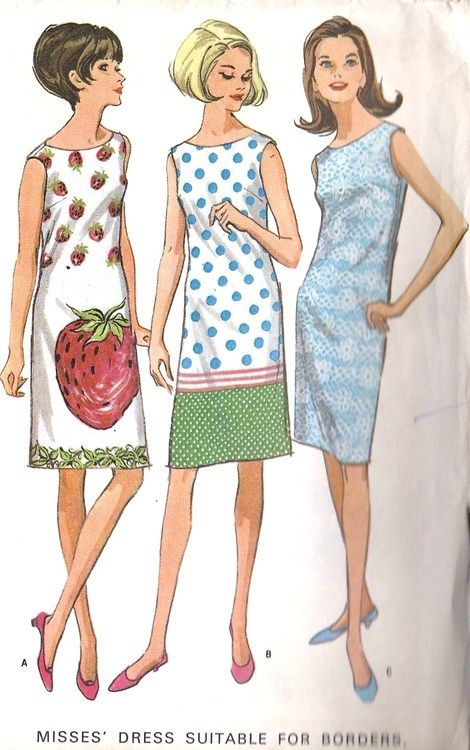 1966 Summer 60s strawberry novelty print white red dots blue green ...