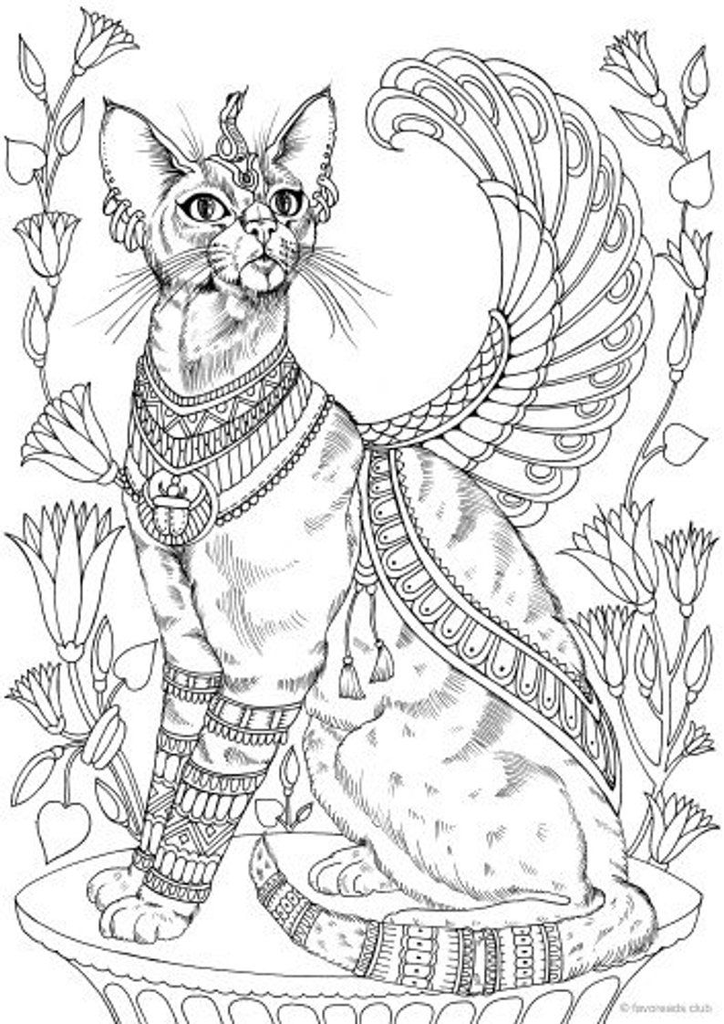 Egyptian Cat - Printable Adult Coloring Page from Favoreads (Coloring book pages for adults and kids, Coloring sheets, Colouring designs) #adultcoloringpages