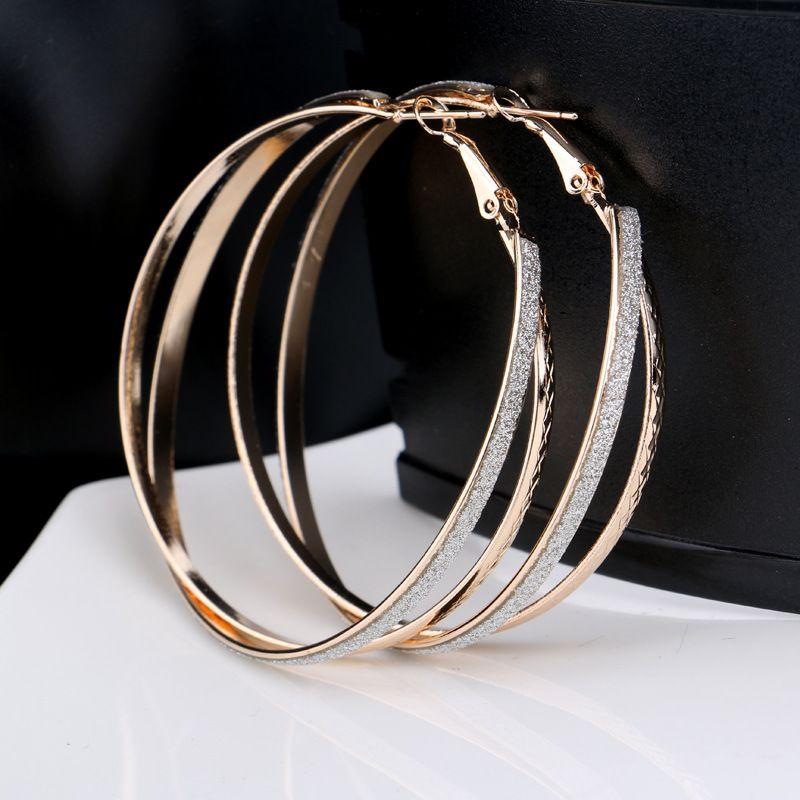 Matte und strukturierte big hoop ohrstecker doppel kreise runde ohr ring bijoux für frauen dame