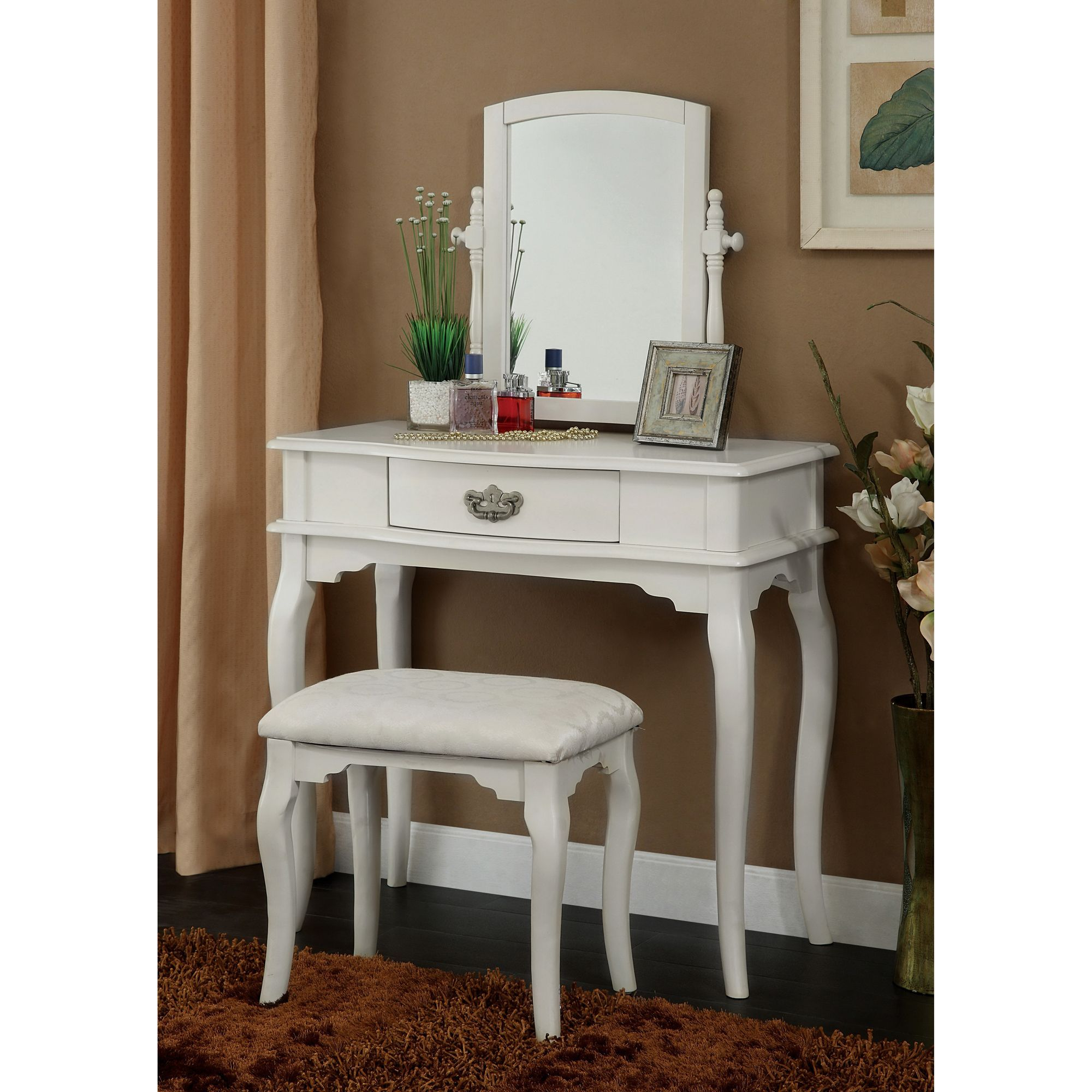 Furniture of america lorena piece solid wood vanity table and