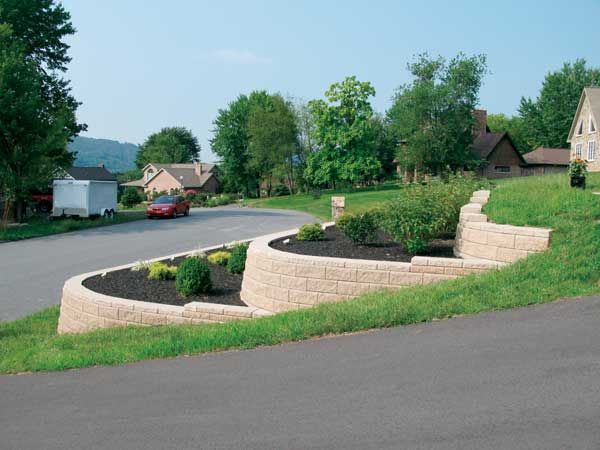 Http Www Allanblock Com Newsletter Images Img 0104 Jpg Sloped Front Yard Driveway Landscaping Tiered Landscape