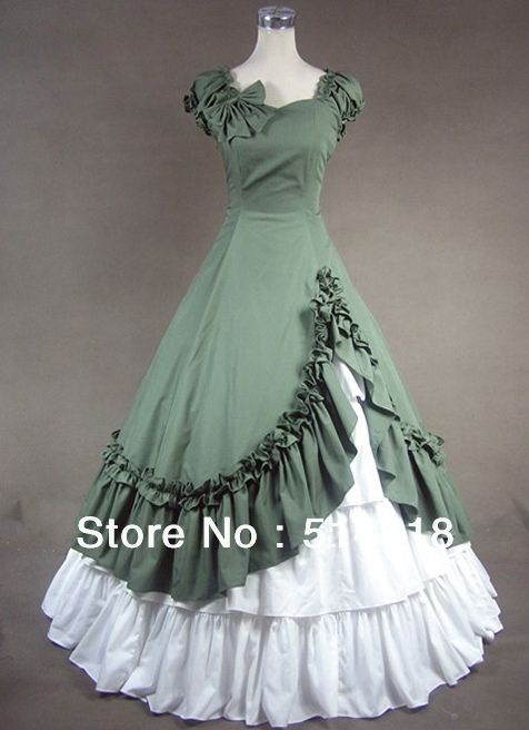 Tomsuit Green and White Cotton Sleeveless Elegant Gothic Floor Length Victorian  Lolita Dress Halloween Costumes for Ball Gown 9f3cd250cfaf