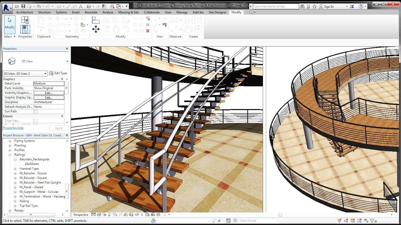 Best Bim Revit Stairs Tutorial 01 Curve Staircase Curve 400 x 300