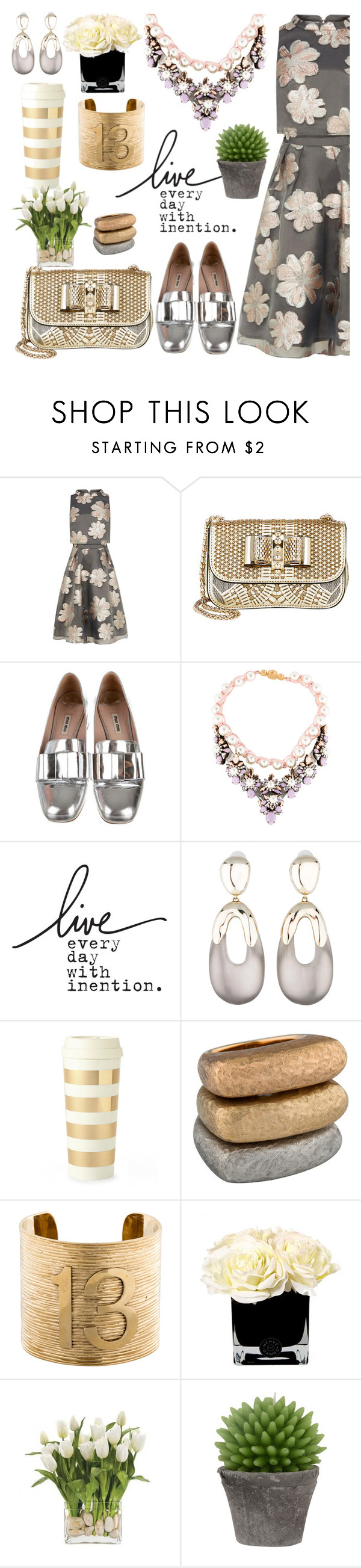 """Mostly metallic"" by pensivepeacock ❤ liked on Polyvore featuring Coast, Christian Louboutin, Miu Miu, SHOUROUK, Alexis Bittar, Kate Spade, Kelly Wearstler, Hervé Gambs, INC International Concepts and Broste Copenhagen"