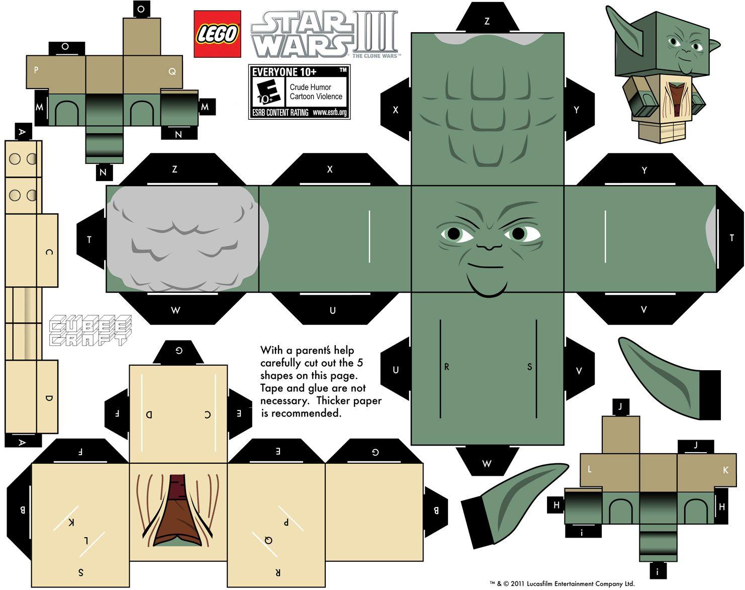 LEGO Yoda Cubeecraft   papercraft   Pinterest   Geburtstagsgeschenke ...