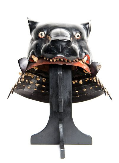 'Fantastic helmet (kawari kabuto 変わり兜) with black-lacquered bear's head,' late 16th century, iron, black laquer, white cord by International Arts & Artists, via Flickr