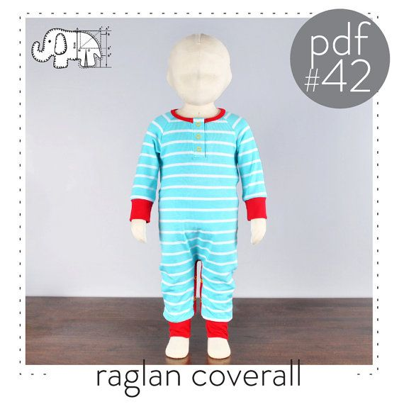 Baby one piece sewing pattern, raglan sleeve, snap placket, easy ...