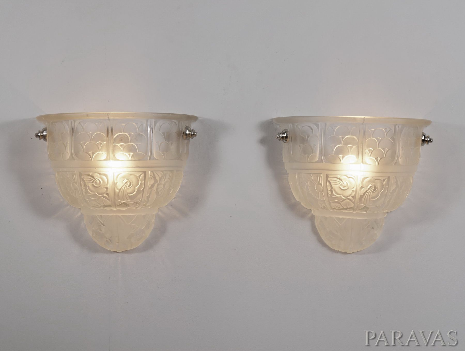 Hettier Vincent Pair Of French Art Deco Wall Sconces 1930 The Paris Based Company H V Used Shades By Verreries De Art Deco Lighting Wall Deco Wall Sconces