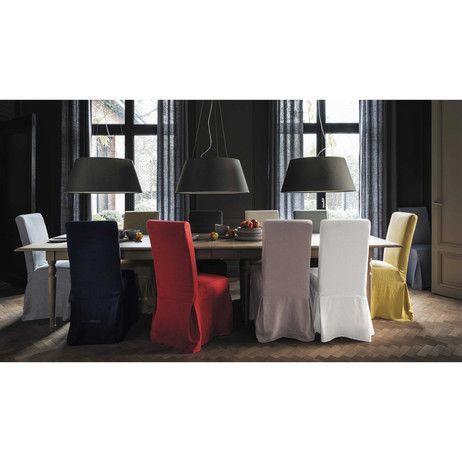 Funda larga de silla de lino lavado rosa Margaux | Maisons du Monde