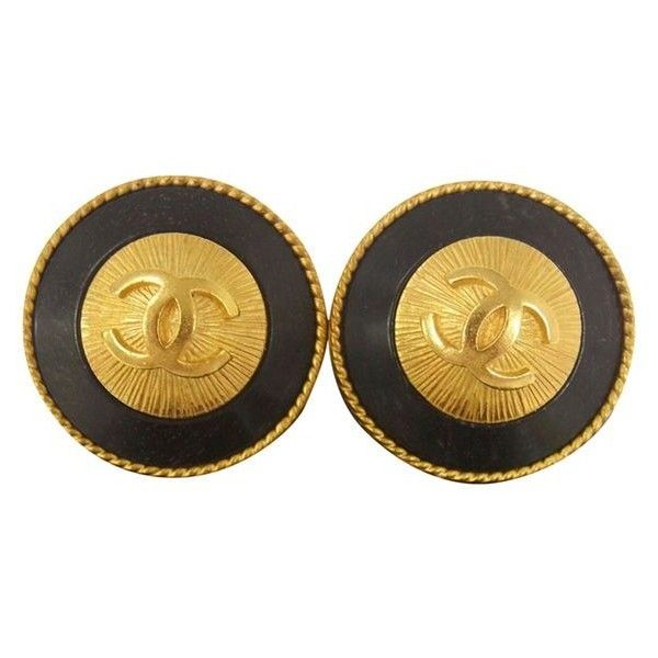 Pre-Owned Chanel Women Cc Logos Button Earrings 1.2 Clip-on e1308 ($590) ❤ liked on Polyvore featuring jewelry, earrings, black, earrings jewelry, gold jewelry, gold earrings jewelry, gold jewellery and yellow gold jewelry