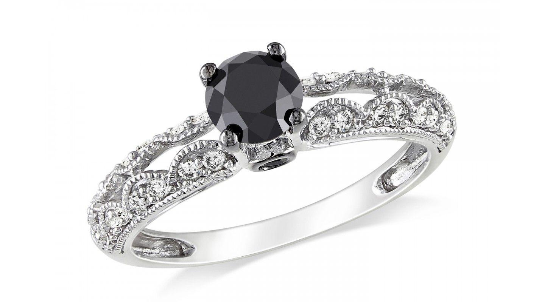 Charmant Vintage Black Diamond Engagement Rings