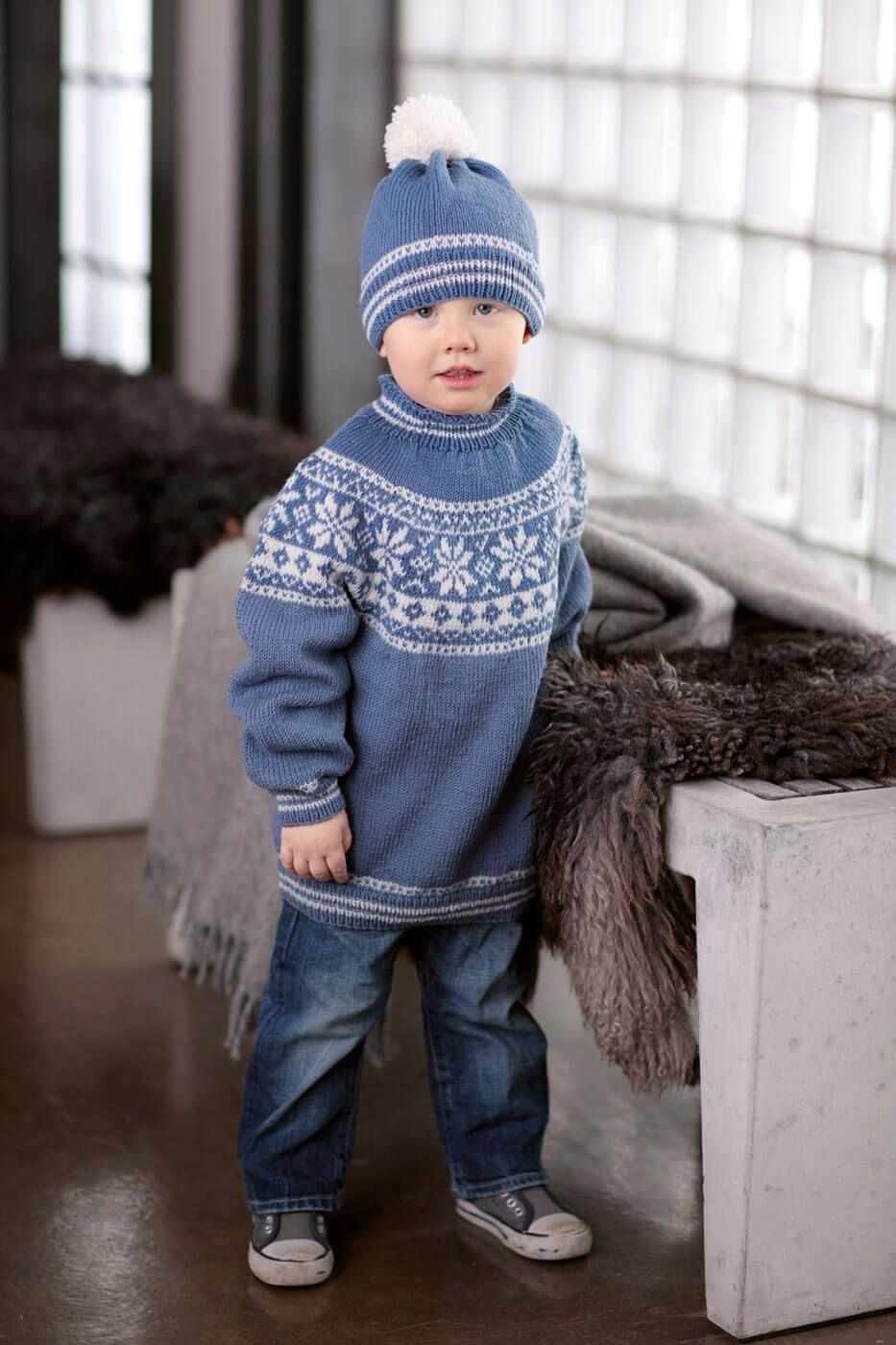 Kinder Norwegerpulli und Mütze kostenlose Strickanleitung