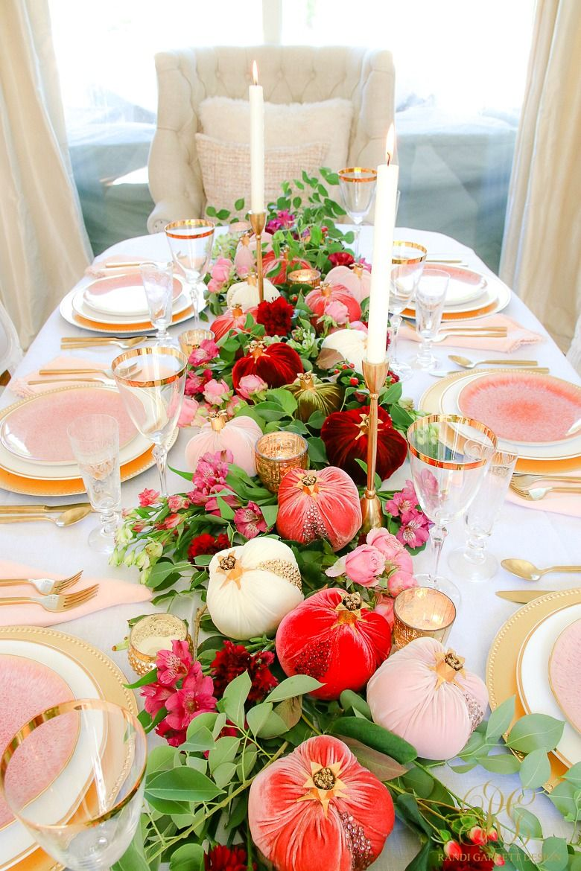 Elegant Pink And Gold Thanksgiving Table Randi Garrett Design Gold Thanksgiving Table Gold Dining Beautiful Table
