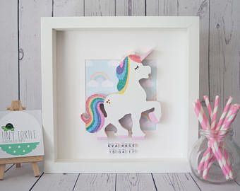 Baby First Photo Unicorn /& Rainbow Design Picture Frame Christening Gift