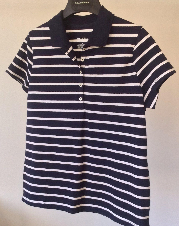 New Navy And White Polo Top Merona Golf Tennis Club Collar Shirt