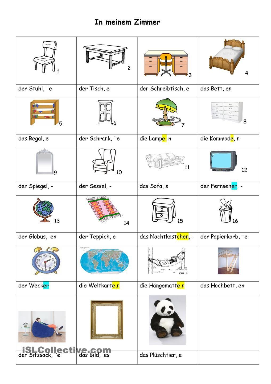 der zimmer unterricht pinterest deutsch deutsch lernen und lernen. Black Bedroom Furniture Sets. Home Design Ideas