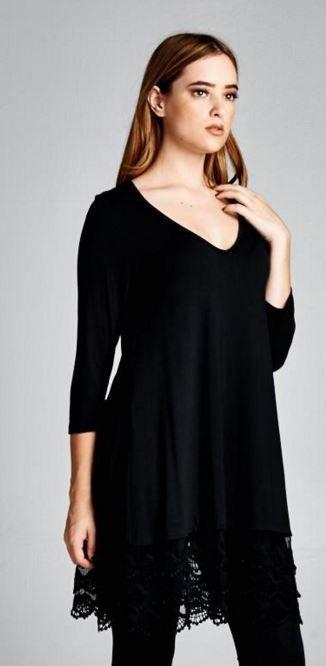 Black V-neck Lace Dress