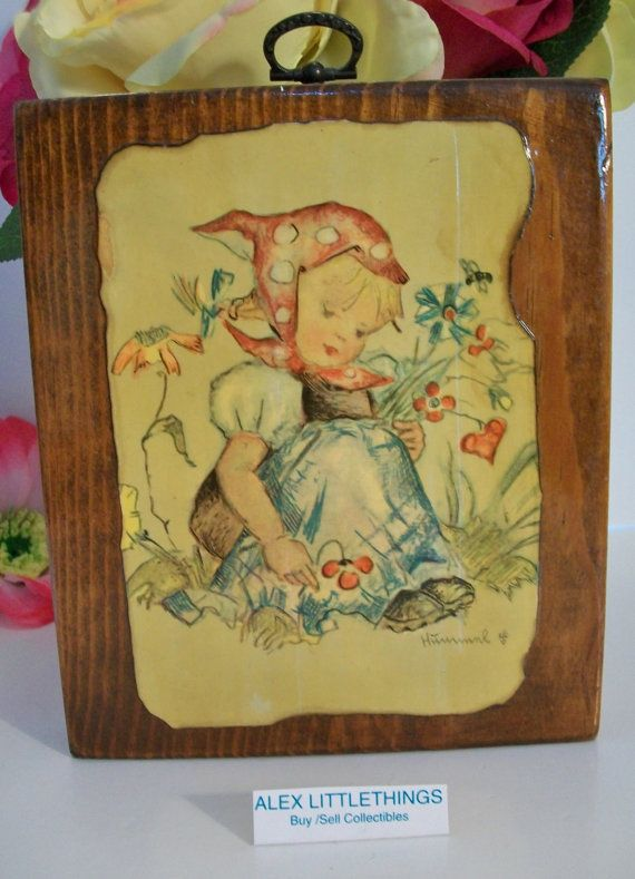 Vintage Hummel Card Wall Hanging girl wall decor wooden plaque wood ...