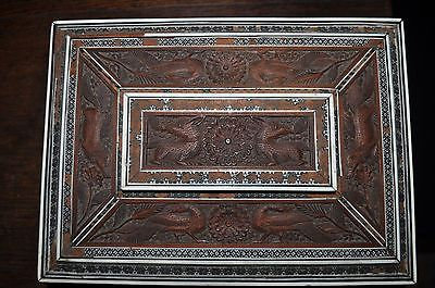 ANTIQUE Indian Egyptian Wood Mother of Pearl Abalone inlaid trinket box jewelery