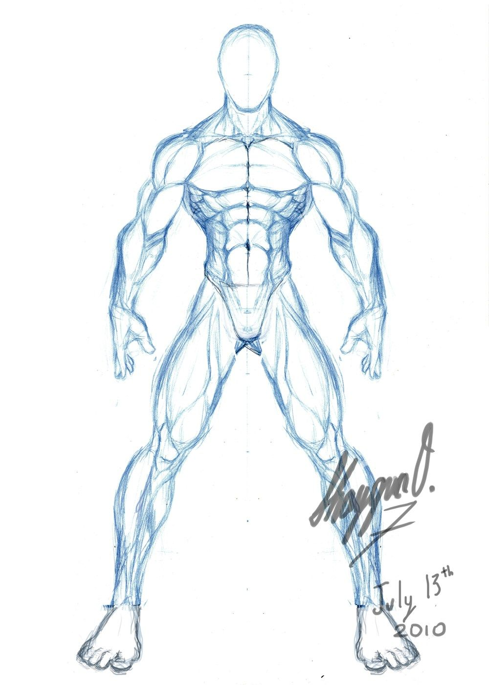male body drawing template male anatomy template front | character ...