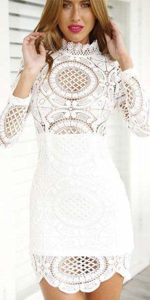 Fashion Lace Spliced High Collar Long Sleeve Slim Fit Dress