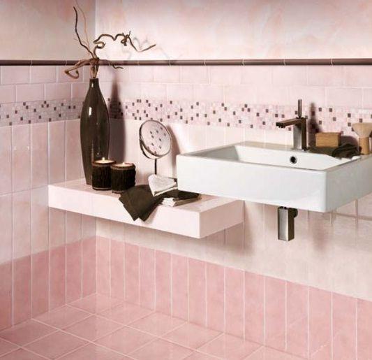 Colorful Bathroom Design From Cerasarda With Gradation Pink Color Tiles Bathroom Tile Designs Modern Bathroom Tile Tile Bathroom