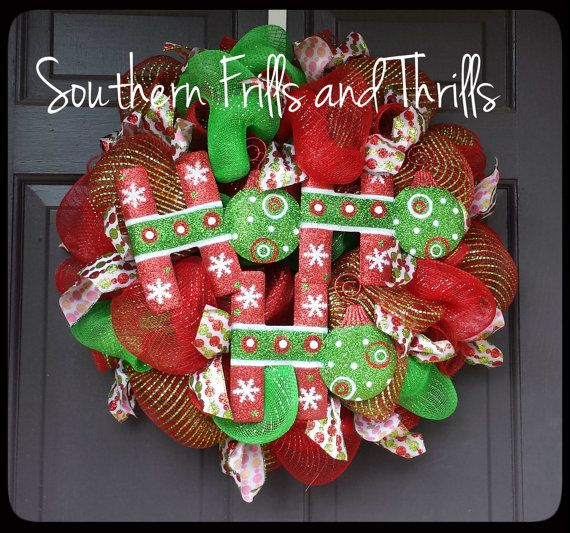 Christmas Wreath Deco Mesh Christmas Wreath Ho by SouthernThrills, $52.00