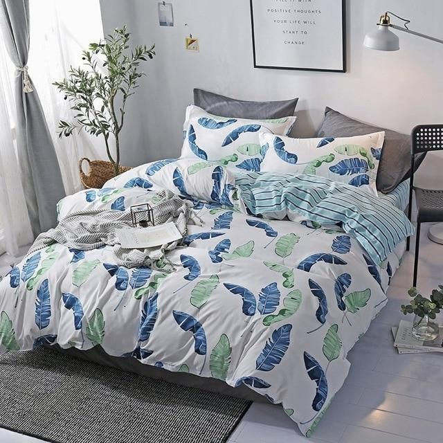 Home Textile Cyan Cute Cat Kitty Duvet Cover Pillow Case Bed Sheet Boy Kid Teen Girl Bedding Linens Set King Queen Twin - 8 / Queen Cover200X230cm