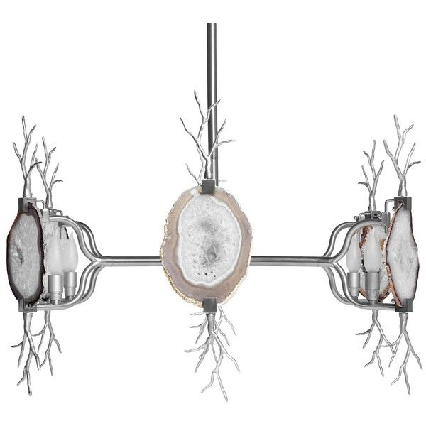 Emporium Home Branch Agate Nickel Chandelier ($3,343) ❤ liked on Polyvore featuring home, lighting, ceiling lights, branch chandelier, nickel light, colorful lights, agate lamp and nickel chandelier lighting